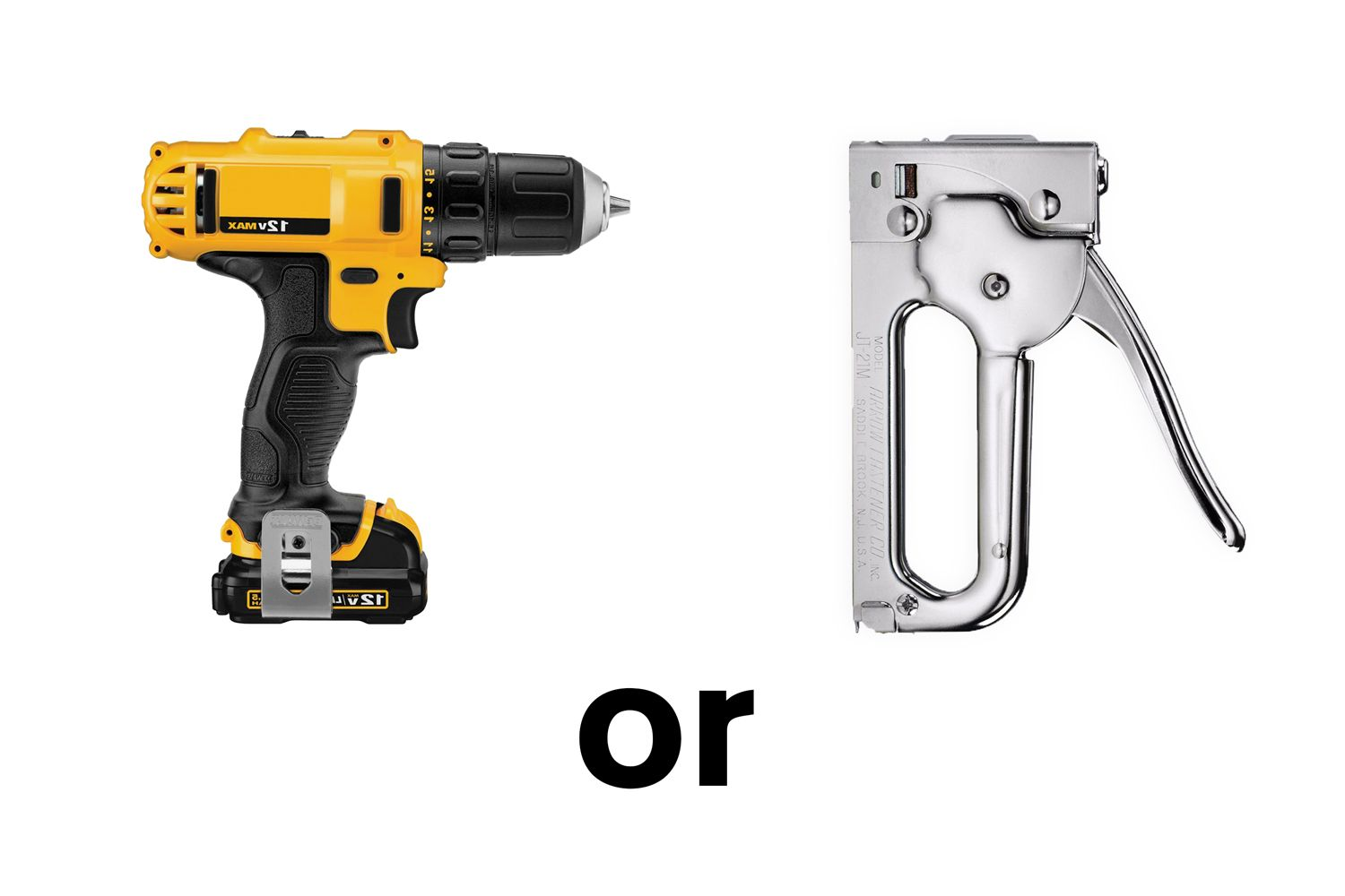 An image showing a power drill and a metal hand stapler